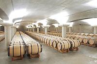 white wine barrel cellar chateau la garde pessac leognan graves bordeaux france