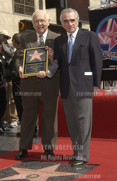 Director MARTIN SCORSESE (right) with honorary Hollywood mayor JOHNNY GRANT on Hollywood Blvd where Scorsese was honored with the 2217th star on the Hollywood Walk of Fame..28FEB2003.  © Paul Smith / Featureflash