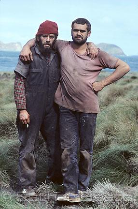 Aboriginal Tasmanian muttonbirders, two young men. Trefoil Island, Tasmania