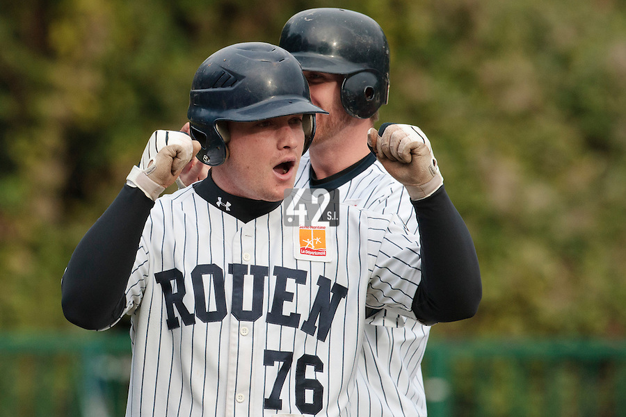 23 October 2010: David Gauthier of Rouen reacts after he scores during Savigny 8-7 win (in 12 innings) over Rouen, during game 3 of the French championship finals, in Rouen, France.