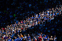 A strip of Cardiff City fans bathed in sunshine during the Sky Bet Championship match between Cardiff City and Reading at the Cardiff City Stadium, Cardiff, Wales on 6 May 2018. Photo by Mark  Hawkins / PRiME Media Images.