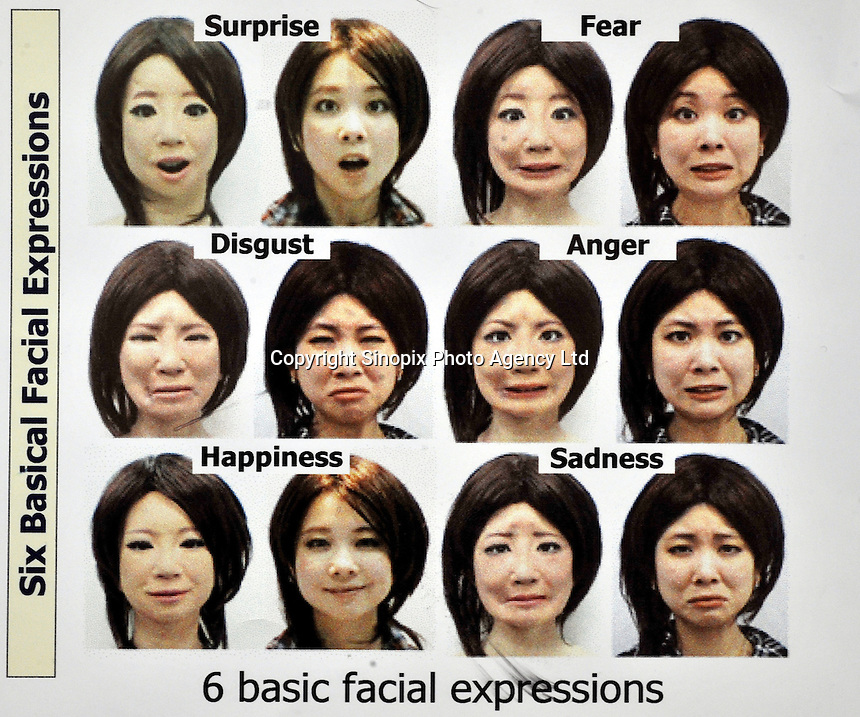 Some expressions of SAYA next to the student from whom she was modelled at the Tokyo Science University. The humanoid, which can talk and has unlimited facial expressions is being introduced as a teacher for primary schools children and just underwent a successful pilot run at Kudan Primary in central Tokyo.