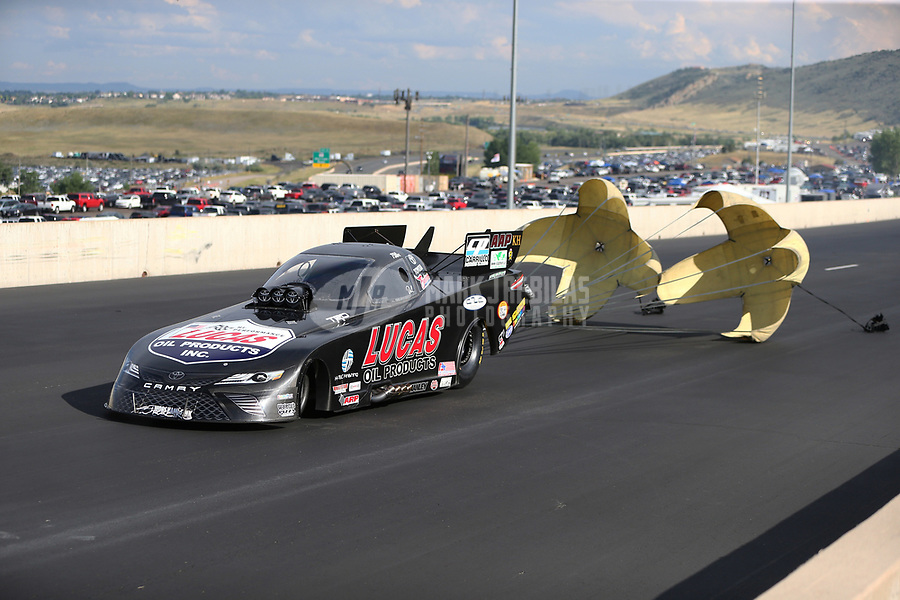 Jul 22, 2017; Morrison, CO, USA; NHRA funny car driver Del Worsham during qualifying for the Mile High Nationals at Bandimere Speedway. Mandatory Credit: Mark J. Rebilas-USA TODAY Sports