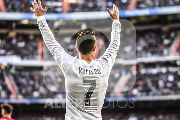 Real Madrid´s Cristiano Ronaldo  during 2015/16 La Liga match between Real Madrid and Atletico de Madrid at Santiago Bernabeu stadium in Madrid, Spain. February 27, 2016. (ALTERPHOTOS/Javier Comos)