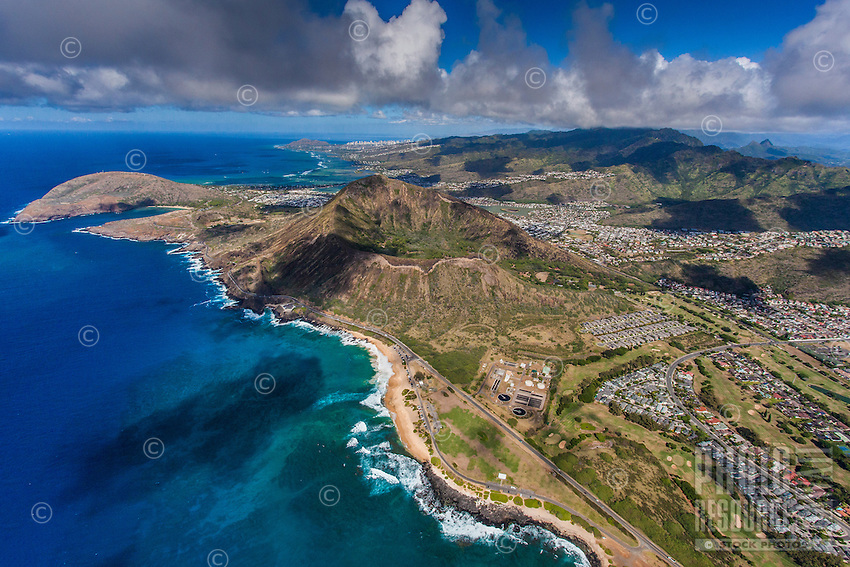 An aerial view of Sandy Beach, Koko Crater, Hanauma Bay, Koko Head and surrounding Southeast O'ahu neighborhood.