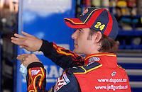 Apr 27, 2007; Talladega, AL, USA; Nascar Nextel Cup Series driver Jeff Gordon (24) during practice for the Aarons 499 at Talladega Superspeedway. Mandatory Credit: Mark J. Rebilas