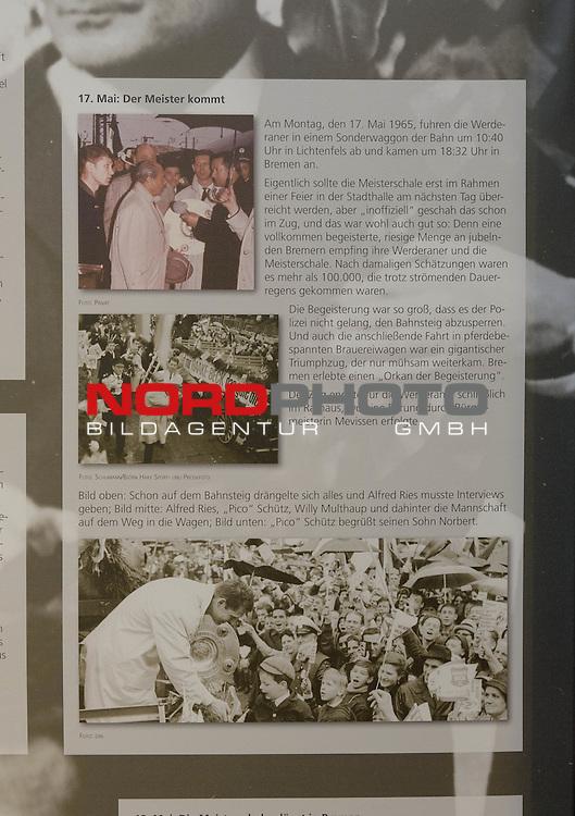 08.05.2015, Wuseum, Bremen, GER, 1.FBL, Er&ouml;ffnung Sonderausstellung zur Deutschen Meisterschaft von Werder Bremen 1965, im Bild Stellw&auml;nde der Ausstellung<br /> <br /> Foto &copy; nordphoto / Frisch