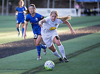 Seattle, WA - Saturday July 16, 2016: Rumi Utsugi, Makenzy Doniak during a regular season National Women's Soccer League (NWSL) match between the Seattle Reign FC and the Western New York Flash at Memorial Stadium.