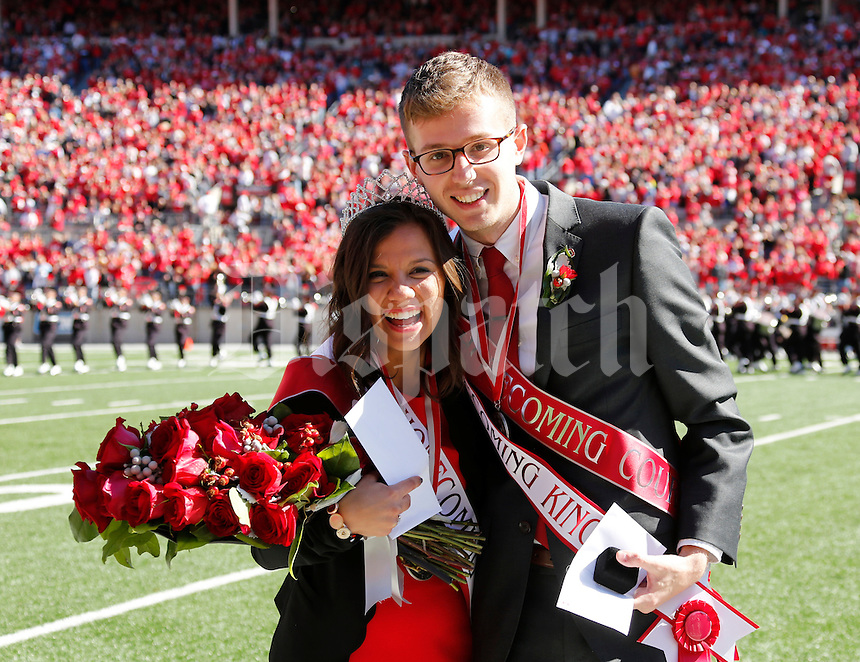 Lisa Combs and Chris Page were named the 2015 Homecoming Queen and King, respectively, before Saturday's NCAA Division I football game against Maryland at Ohio Stadium in Columbus on October 10, 2015. (Dispatch Photo by Barbara J. Perenic)