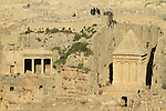 Jerusalem, Kidron valley, the tombs of Zecharia (right) and Bene Hazir (left) are carved at the foot of the Mount of Olives facing Temple Mount, above is the Jewish cemetery