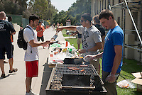 Rugby BBQ fundraiser in the JSC quad, April 3, 2013.  (Photo by Marc Campos, Occidental College Photographer)