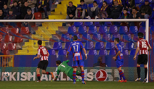 07.04.2014 Valencia, Spain. Defender Mikel San Jose of Athletic Bilbao scores an own goal during the La Liga game Levante UD v Athletic Bilbao at Ciutat de Valencia Stadium, Valencia.