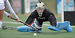 MICDS goalkeeper Barbara Ribeiro dives to block a shot by Villa Duchesne player Taryn Tkachuk in the first half. Villa Duchesne defeated MICDS 1-0 in the championship game of the 40th Midwest Field Hockey Tournament at the SportPort Athletic Complex in Maryland Heights, MO on Saturday November 3, 2018.<br /> Tim Vizer/Special to STLhighschoolsports.com