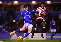 Sam Gallagher of Birmingham in action with Lamine Kone of Sunderland during the Sky Bet Championship match between Birmingham City and Sunderland at St Andrews, Birmingham, England on 30 January 2018. Photo by Bradley Collyer / PRiME Media Images.