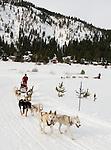 Dog-sledding at the Resort at Squaw Creek, Squaw Valley, CA at Lake Tahoe