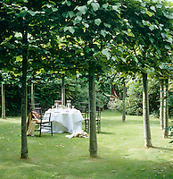 Deep in the garden an enchanted circle of lime trees is an idyllic spot for a romantic dinner on a hot summer evening