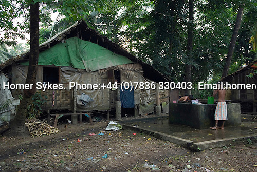 Mawlamyine Mon State Myanmar (Burma) 2008. Mawlamyaine Moulmein. Slum houses.