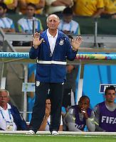 Brazil head coach Luiz Felipe Scolari holds his hands up on the touchline