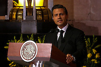 Mexico City, Mexico. 21th April 2014 - Mexican president Enrrique Pena Nieto attends the awake service of Colombian Nobel Prize laureate Gabriel Garcia Marquez in Mexico City. Photo by Miguel Pantaleon/VIEWpress