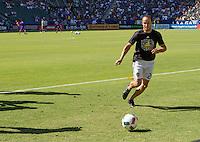 Carson, CA - September 11, 2016: The LA Galaxy take on Orlando City SC as Landon Donovan warms up in a Major League Soccer (MLS) match at StubHub Center.