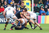 10th September 2017, Sixways Stadium, Worcester, England; Aviva Premiership Rugby, Worcester Warriors versus Wasps; Tom Cruise of Wasps is wrapped up in the tackle