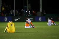 Montpellier players show their disappointment at the final whistle after losing 2-1 during Chelsea Under-19 vs Montpellier HSC Under-19, UEFA Youth League Football at the Cobham Training Ground on 13th March 2019