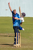 Cricket Scotland - the Citylets Scottish Cup Final between Carlton CC V Heriots CC at Meikleriggs, Paisley (Ferguslie CC) - Heriots Elliot Ruthven signals success in taking the wicket of Carlton's Tom Simpson (for 2) - picture by Donald MacLeod - 25.08.19 - 07702 319 738 - clanmacleod@btinternet.com - www.donald-macleod.com