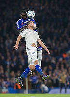 Kurt Zouma of Chelsea wins the ball in the air during the UEFA Champions League Group G match between Chelsea and Dynamo Kyiv at Stamford Bridge, London, England on 4 November 2015. Photo by Andy Rowland.