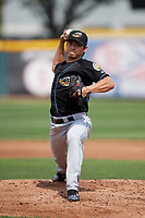 Akron RubberDucks starting pitcher Shao-Ching Chiang (29) delivers a warmup pitch during a game against the Erie SeaWolves on August 27, 2017 at UPMC Park in Erie, Pennsylvania.  Akron defeated Erie 6-4.  (Mike Janes/Four Seam Images)