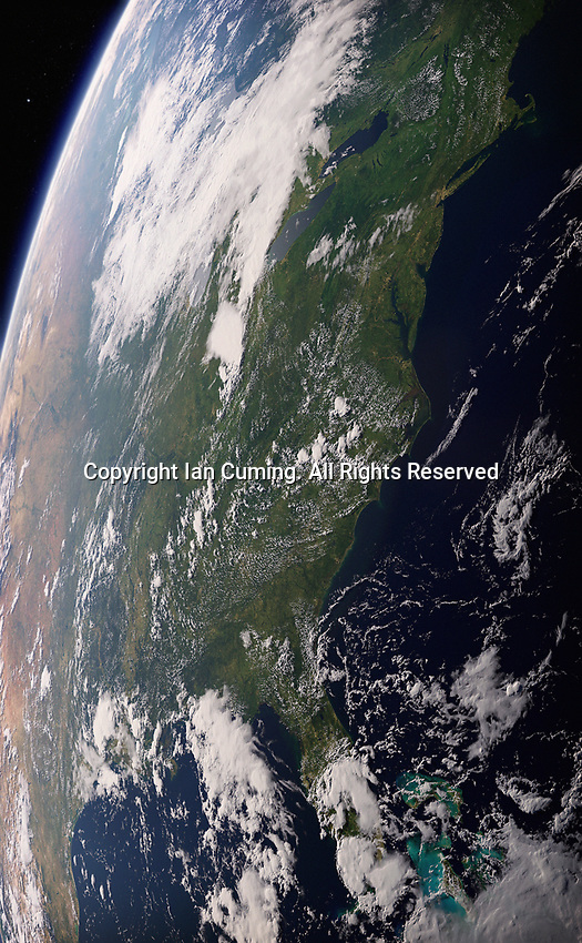 Digitally manipulated image of Eastern United States from space