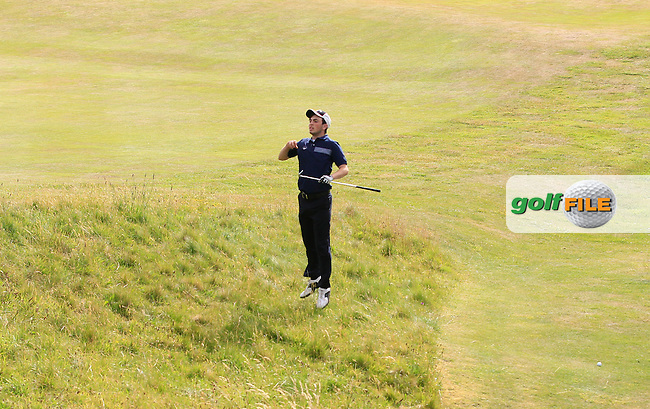 Eamonn O'Driscoll (Killarney) taking to the air on the 18th fairway during Round 3 of the Ulster Boys Championship at Castlerock Golf Club on Wednesday 2nd July 2015.<br /> Picture:  Golffile | Thos Caffrey
