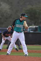 Coastal Carolina Chanticleers pitcher Aaron Burke #2 pitching during a game against the University of Virginia Cavaliers at Watson Stadium at Vrooman Field on February 18, 2012 in Conway, SC.  Virginia defeated Coastal Carolina 9-3. (Robert Gurganus/Four Seam Images)