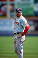 Portland Sea Dogs coach Luke Montz (30) during the first game of a doubleheader against the Reading Fightin Phils on May 15, 2018 at FirstEnergy Stadium in Reading, Pennsylvania.  Portland defeated Reading 8-4.  (Mike Janes/Four Seam Images)