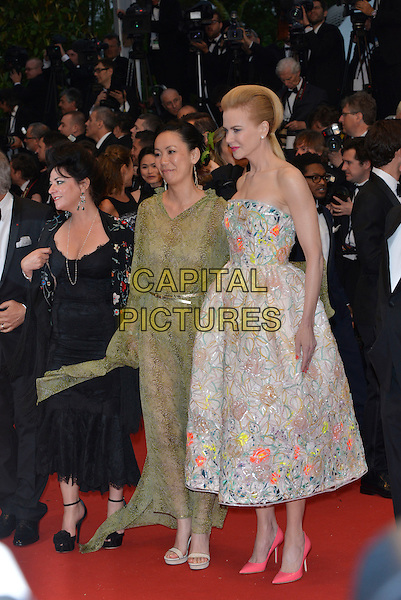 Lynne Ramsay, Naomi Kawase, Nicole Kidman.Opening ceremony and 'The Great Gatsby' premiere at  the 66th International Cannes Film Festival, France 15th May 2013.full length pink white yellow orange floral print strapless dress green lace .CAP/PL.©Phil Loftus/Capital Pictures.