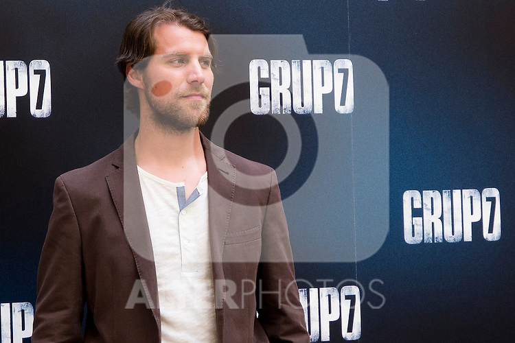 "Presentation at the Intercontinental Hotel in Madrid of the film ""Group 7"" with the presence of the actors Mario Casas, Antonio de la Torre, Inma Cuesta, Jose Manuel Poga, Joaquin Nunez, director Alberto Rodriguez, and producer Jose Antonio Fellez. In the picture: Jose Manuel Poga..(Alterphotos/Marta Gonzalez)"