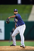 San Antonio Missions pitcher Luis De La Cruz (27) delivers a pitch during a game against the NW Arkansas Naturals on May 30, 2015 at Arvest Ballpark in Springdale, Arkansas.  San Antonio defeated NW Arkansas 5-2.  (Mike Janes/Four Seam Images)