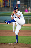 Ogden Raptors starting pitcher Tommy Bergjans (9) delivers a pitch to the plate against the Grand Junction Rockies in Pioneer League action at Lindquist Field on July 6, 2015 in Ogden, Utah. Ogden defeated Grand Junction 8-7. (Stephen Smith/Four Seam Images)