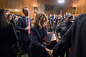 UNITED STATES - SEPTEMBER 27: Christine Blasey Ford finishes testimony before the Senate Judiciary Committee hearing on the nomination of Brett M. Kavanaugh to be an associate justice of the Supreme Court of the United States, focusing on allegations of sexual assault by Kavanaugh against Christine Blasey Ford in the early 1980s. (Photo By Tom Williams/CQ Roll Call/POOL)