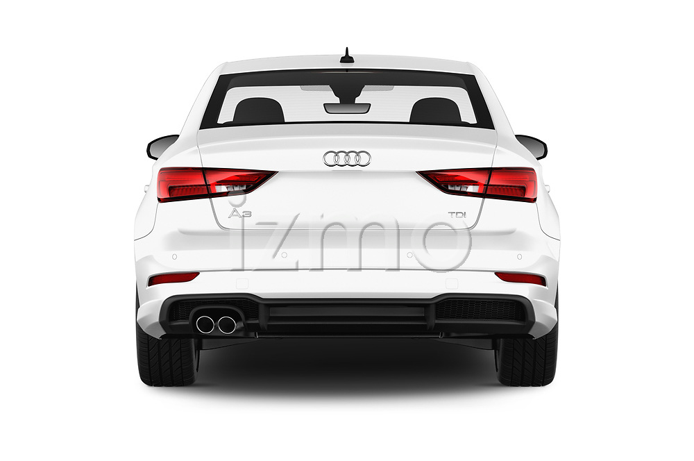 Straight rear view of 2017 Audi A3 S-Line 4 Door Sedan Rear View  stock images