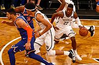 NOVA YORK, EUA, 03.10.2018 - KNICKS-NETS - Lance de partida entre New York Knicks e Brooklyn Nets valido pela pre temporada de basquete na NBA no Barclays Center em Nova York nesta quinta-feira, 04. (Foto: Vanessa Carvalho/Brazil Photo Press)