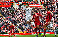 Burnley's Chris Wood can't connect with a cross<br /> <br /> Photographer Alex Dodd/CameraSport<br /> <br /> The Premier League - Liverpool v Burnley - Sunday 10th March 2019 - Anfield - Liverpool<br /> <br /> World Copyright © 2019 CameraSport. All rights reserved. 43 Linden Ave. Countesthorpe. Leicester. England. LE8 5PG - Tel: +44 (0) 116 277 4147 - admin@camerasport.com - www.camerasport.com