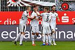 16.03.2019, BWT-Stadion am Hardtwald, Sandhausen, GER, 2. FBL, SV Sandhausen vs FC St. Pauli, <br /> <br /> DFL REGULATIONS PROHIBIT ANY USE OF PHOTOGRAPHS AS IMAGE SEQUENCES AND/OR QUASI-VIDEO.<br /> <br /> im Bild: Philipp F&ouml;rster / Foerster / Forster (SV Sandhausen #28) jubelt ueber sein Tor zum 2:0 mit Aleksandr Zhirov (SV Sandhausen #2), Denis Linsmayer (#6, SV Sandhausen) und Fabian Schleusner (#11, SV Sandhausen)<br /> <br /> Foto &copy; nordphoto / Fabisch