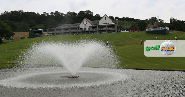 View of the 2010 clubhouse and 18th green at the 2013 ISPS Handa Wales Open from the Celtic Manor Resort, Newport, Wales. Picture:  David Lloyd / www.golffile.ie