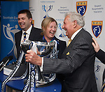 The oldest living Rangers legend 89 year old keeper Bobby Brown laughing with sports minister Shona Robison at the League Cup draw at Hampden