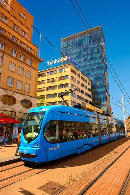 Modern tram in the Square of Ban Josip Jela?i?,  Zagreb, Croatia