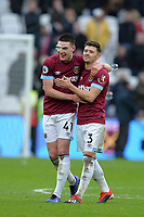 Declan Rice of West Ham United At the Final Whistle Applause Fan's with Aaron Cresswell of West Ham United during West Ham United vs Arsenal, Premier League Football at The London Stadium on 12th January 2019