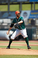 Greensboro Grasshoppers starting pitcher Colin Selby (38) in action against the Hickory Crawdads at L.P. Frans Stadium on May 26, 2019 in Hickory, North Carolina. The Crawdads defeated the Grasshoppers 10-8. (Brian Westerholt/Four Seam Images)
