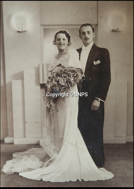 BNPS.co.uk (01202 558833)<br /> Pic: PhilYeomans/BNPS<br /> <br /> Helen and Maurice Kaye on their wedding day, 27th August 1934.<br /> <br /> Maurice and Helen Kaye from Bournemouth in Dorset - celebrate their 80th wedding anniversary today, 27th August 2014 after marrying in 1934.