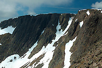 The summit cliffs of Braeriach, the 3rd highest mountain in Britain, Cairngorm National Park