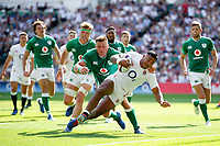 Manu Tuilagi of England dives for the try-line in the first half. Quilter International match between England and Ireland on August 24, 2019 at Twickenham Stadium in London, England. Photo by: Patrick Khachfe / Onside Images